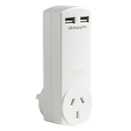HPM Adaptor with USB Charger 4.2A - White D2USB