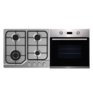 Bellini 60cm Gas Cooktop and 60cm 9 Function Black Stainless Steel Electric Oven Package