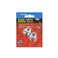 Zenith 5mm Galvanised Wire Rope Grip - 2 Pack