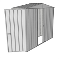 Build-a-Shed 2.3 x 0.8 x 2.3m Front Gable Dual Door Narrow Shed - Zinc