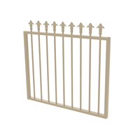 Protector Aluminium 975 x 900mm J Spear Top Garden Gate - To Suit Gudgeon Hinges - Paperbark