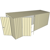 Build-a-Shed 1.5 x 5.2 x 2m Double Hinged Side Door Skillion Shed - Cream