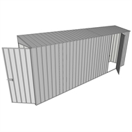Build-a-Shed 0.8 x 5.2 x 2m Single Hinged Door Skillion Shed with Single Hinged Side Door - Zinc