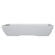 Northcote Pottery 39 x 19 x 8 White Keidai Terrazzo Bonsai Pot