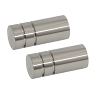 Pillar 16mm Brushed Chrome Barrel Finial Curtain Rod - 2 Pack