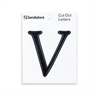 Sandleford 80mm Black Goudy Cut Out Self Adhesive Letter V