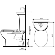 Caroma Profile 5 Deluxe P Trap Toilet Suite