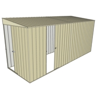 Build-a-Shed 1.5 x 4.5 x 2m  Sliding Door Tunnel Shed with Sliding Side Door - Cream