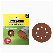 Flexovit 115mm 180 Grit 8 Hole All Surface Orbital Sanding Disc  - 5 Pack