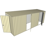 Build-a-Shed 1.5 x 5.2 x 2m Hinged Door Tunnel Shed with 2 Hinged Side Doors - Cream