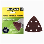 Flexovit 93 x 93mm 40 Grit 6 Hole All Surface Detail Sanding Sheet - 5 Pack