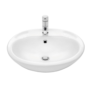 Stylus 500 x 188 x 430mm Allegro Semi-Recessed Basin With 1 Tap Hole