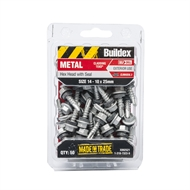 Buildex 14-10 x 25mm Climaseal Hex Head With Seal Metal Cladding Tek Screws - 50 Pack