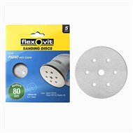 Flexovit 150mm 80 Grit 6+1 Hole Painted Surface Orbital Sanding Disc - 5 Pack
