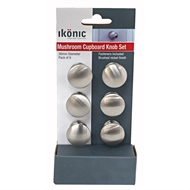 Ikonic Brushed Nickel Cupboard Knob Set  - 6 Piece