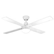 Arlec 120cm 4 Blade White Ceiling Fan With Oyster Light And LCD Remote Control