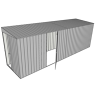 Build-a-Shed 1.5 x 6 x 2m Sliding Door Tunnel Shed With 1 Hinged Side Door - Zinc
