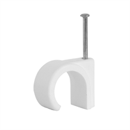 HPM 8 - 10mm White Hook Cable Clips - 100 Pack