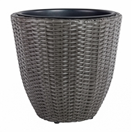 Tuscan Path 37cm Poly Rattan Egg Pewter Planter