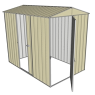 Build-a-Shed 1.5 x 2.3 x 2.3m Narrow Front Gable Dual Door Shed - Cream