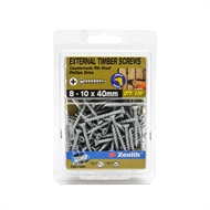 Zenith 8 - 10 x 40mm Galvanised Countersunk Ribbed Head Timber Screws - 100 Pack