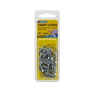 Zenith 6G x 18mm Zinc Plated Hinge-Long Threads Countersunk Head Timber Screws - 45 Pack