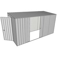 Build-a-Shed 1.5 x 3.7 x 2m Hinged Door Tunnel Shed With Double Sliding Side Doors - Zinc