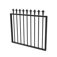 Protector Aluminium 975 x 900mm J Spear Top Garden Gate - To Suit Self Closing Hinges - Satin Black