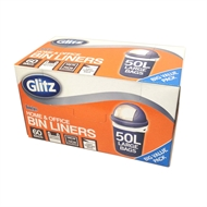 Glitz 50L Large Tie Top Kitchen Bin Liners - 60 Pack