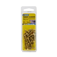 Zenith 8G x 18mm Brass Plated Hinge-Long Threads Countersunk Head Timber Screws - 30 Pack