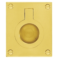 Delf 37mm x 50mm Polished Brass Flush Ring Pull