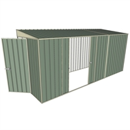Build-a-Shed 1.5 x 4.5 x 2m Hinged Door Tunnel Shed with 2 Sliding Side Doors - Green