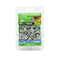 Zenith 8g x 15mm Galvanised Button Head Stitching Timber Screws - 100 Pack