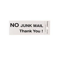 Sandleford 100 x 50mm No Junk Mail Thankyou Silver Self Adhesive Sign