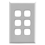 HPM EXCEL 6 Gang Coverplate - White