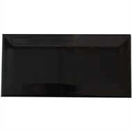 Johnson Tiles 200 x 100mm Black Gloss Bevelled Edge Ceramic Wall Tile - 48 Pack