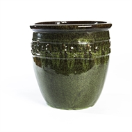 Tuscan Path 54 x 52cm Green Glazed Studded Pot