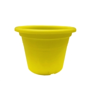 Eden 15cm Transparent Yellow Round Cylinder Plastic Pot