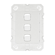HPM ARTEOR 3 Gang Wall Switch - Grid Only - White