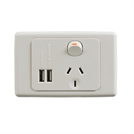 DETA Single Power Point with Dual USB Charger
