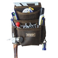 Irwin 10 Pocket Leather Nail And Tool Bag