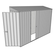 Build-a-Shed 0.8 x 3 x 2m Hinged Door Tunnel Shed with Single Sliding Side Door - Zinc