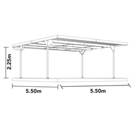 Absco Sheds 5.5 x 5.5 x 2.25m Skillion Roof Double Carport