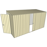 Build-a-Shed 1.5 x 3.7 x 2m Hinged Door Tunnel Shed with Sliding Side Door - Cream