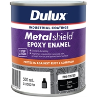 Dulux Metalshield 500ml Satin Black Topcoat Epoxy Enamel Paint