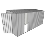 Build-a-Shed 1.5 x 4.5 x 2.0m Tunnel Shed Tunnel Hinged Door +1 Sliding Side Door - Zinc