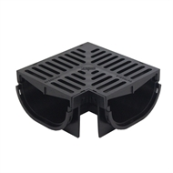 Everhard EasyDRAIN Compact Corner Channel with 80mm Black Polymer Grate