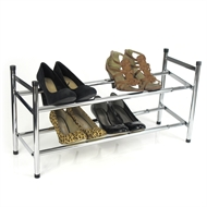 Easier Storage 2 Tier Chrome Expanding Shoe Rack