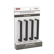 Prestige 96mm Black Half Round Square Handle - 4 Pack