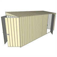 Build-a-Shed 1.5 x 4.5 x 2m Single Hinged Side Door Skillion Shed - Cream